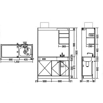 MW-120F ミニキッチン 1台 ニッサンハロー 【通販モノタロウ】 36029585